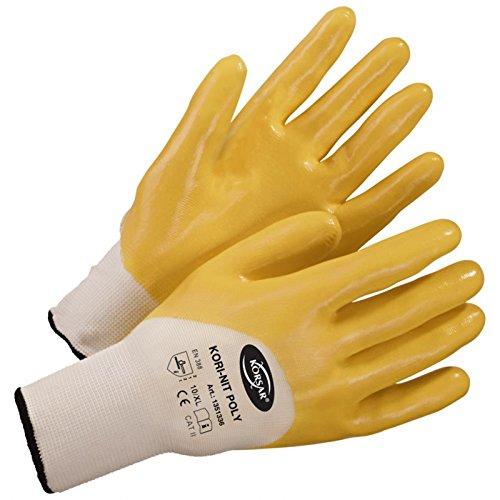 144 Paar Nitrilhandschuhe Arbeitshandschuhe Handschuh Kori-Nit Poly weiß-gelb Größe 11