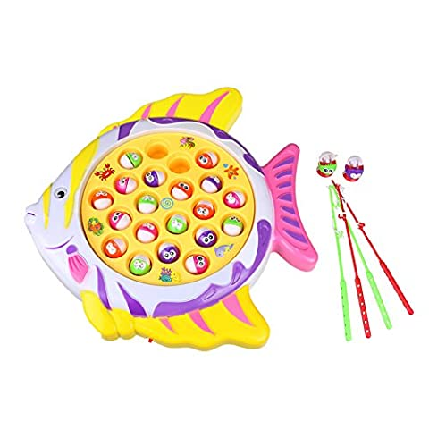 Fishing Board Game Toy Set for Best Gift for Kids Boys Girls Fish Shape Board with 21 Fishes 4 Fishing Rods and Music (Color Vary)
