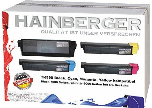 Preisvergleich Produktbild 4x Hainberger Toner für Kyocera TK590 Black, Cyan, Magenta, Yellow für ECOSYS M6526cdn / FS-C5250DN / ECOSYS P6026cdn / FS-C2126MFP / ECOSYS M6026cdn / FS-C2026MFP / FS-C2626MFP / ECOSYS M6526cidn / FS-C2526MFP / ECOSYS M6026cidn
