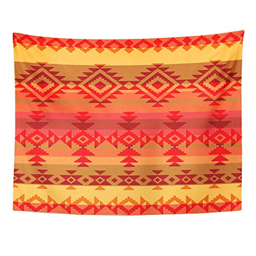AOCCK Wandteppiche, Tapestry Wall Hanging Red Native Traditional American Indian Style Aztec Mexican Mexico Tribal Ethnic 60