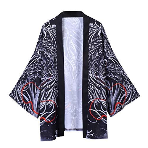 SANNYSIS Cardigan Herren Vintage Poncho Cape Mantel Japan Strickjacke Happi Kimono Haori Jacke 3/4 Ärmel Bequem und Atmungsaktiv Leicht Pullover (L, Dunkelgrau) -