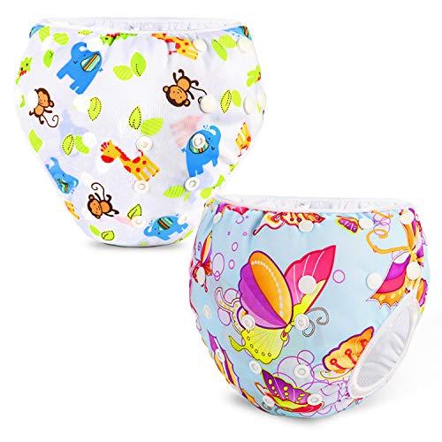 Phogary Schwimmwindeln (2er-Pack), wiederverwendbare Baby-Schwimmwindel für Babys von 0 bis 3 Jahren (Gewicht 3 bis 15 kg), perfekt für Duschen, Strand- und Schwimmstunden (ZOO-Thema + Schmetterling)