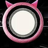 B 2018 Auto Lenkrad Abdeckung voll Leder Cartoon Lenker Set atmungsaktiv rutschfest, light pink, 38CM
