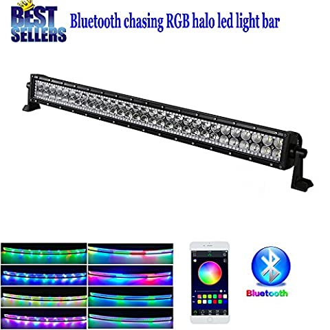 Colorbarz® droites 81,3cm 180W Chasing RGB Halo Barre lumineuse LED avec Bluetooth App de faisceau de câblage pour écouter de la musique et lumières kit étanche pour Jeep Off Road van Camper Waggon ATV AWD 4x 44WD 4x 4Pickup van tout-terrain
