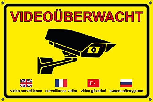 Videoüberwachung | Videoüberwacht | Achtung Video | Aufkleber | Schild | Warnung Video | Hinweis Video (Schild 3mm mit Bohrung, 45 x 30cm)