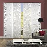 Home Fashion 94005 | 4er-Set Schiebegardine ADLANES | mit Scherli-Muster | 4x 245x60 cm (h x b) | Farbe: wollweiß