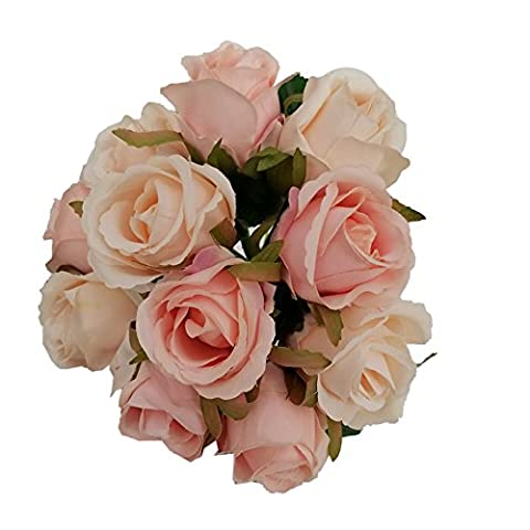 Molie 12pcs Artificial Rose Flower Bouquet Simulation Flowers Silk Fake Flowers Craft Home Wedding Party Decoration Valentine's Day Gift,Champagne