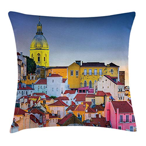 BHWYK Cityscape Throw Pillow Cushion Cover, Portugal Skyline at Alfama Oldest District of The City with The National Pantheon Dome, Decorative Square Accent Pillow Case, 18 X 18 inches, Navy