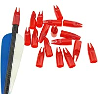 ZSHJG 50 pcs Tiro al Arco Flecha Nock El Plastico Nock Pin Vistoso Arrow Tail para 8mm Arrow Shaft (Rojo 1)