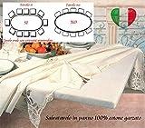 SpazioTessile Copritavolo Mollettone Salva Tavolo Ovale 100% Cotone garzato con Elastico 15 Mis (130x185 per tavoli 100x160)