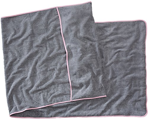Sowel Strandtuch mit Kapuzenüberschlag, Handtuch für Liege, Reine Baumwolle, 80 x 220 cm, Grau Pink
