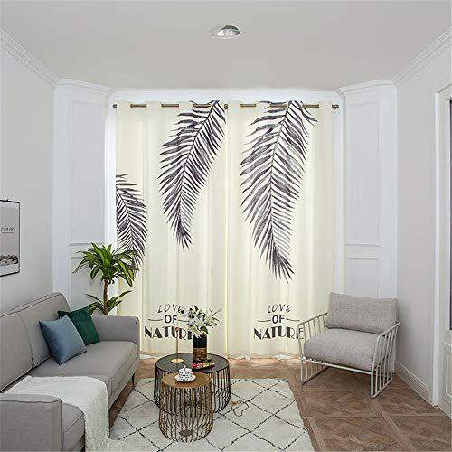 YUNSW Feder Blatt3D Digitaldruck Vorhänge Polyester Moderne Wohnzimmer Schlafzimmer Balkon Verdunkelungs Vorhang 1 Stück