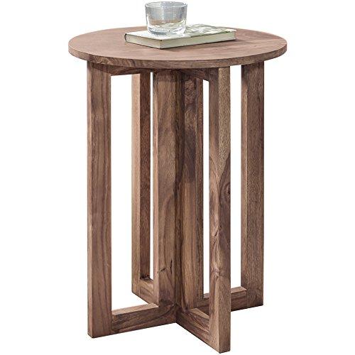 FineBuy Beistelltisch Massiv-Holz Akazie Wohnzimmer-Tisch 45 x 45 cm rund Couchtisch Natur-Holz dunkel-braun Nachttisch Landhaus-Stil Nachtkommode Boxspringbett Echtholz Anstelltisch 60 cm hoch