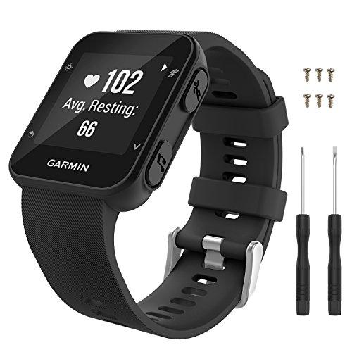 MoKo Garmin Forerunner 35 Smartwatch Bracelet en Silicone avec 6 vises et Un Tournevis, pour Garmin Forerunner 35 (Pas Compatible de Forerunner 235) Montre, Noir
