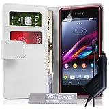 Yousave Accessories Schutzhülle aus PU-Leder, mit Kartenfächern, KFZ-Ladegerät für Sony Xperia Z1Compact, Weiß