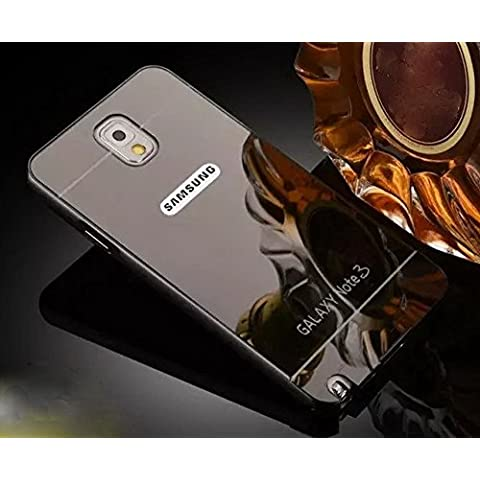 Samsung Galaxy Note 3Funda de Espejo, Ultra Thin Aleación de aluminio metal enchapado electroplate Bumper Panel Trasero Carcasa rígida para Samsung Galaxy Note 3, metal, negro, Samsung Galaxy Note 3
