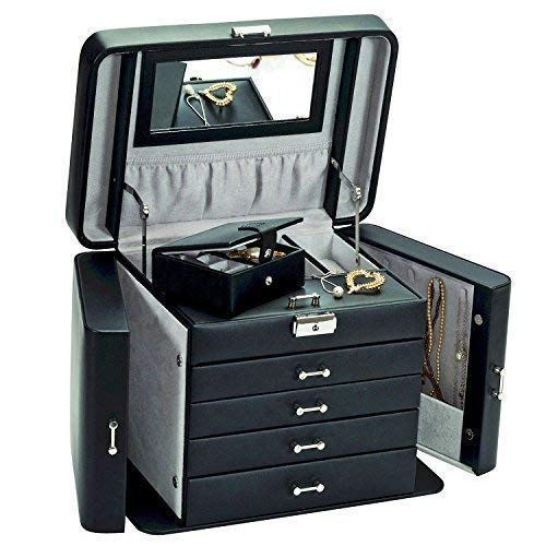 Kaiserin XL Schmuckkästchen / Jewel Case in Schwarz Bonded Leder von Mele & Co