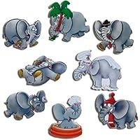 Elefante Magneti–Set di 8magneti con immagini di elefanti Droll–Calamite per frigorifero con motivo per lavagna magnetica calamita pin board Lavagna Pianificazione bacheca–Magneti originali GUMA Magneticum