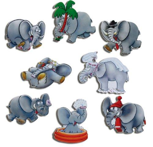 Kühlschrankmagnete Tiere Magnete für Magnettafel Kinder stark 8er Set Elefant lustig mit Motiv Comic Elefanten Hochzeit