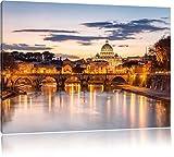 Vista notturna della Basilica di San Pietro a Roma, formato: 120x80 su tela, XXL enormi immagini completamente Pagina con la barella, stampa d'arte sul murale con telaio, più economico di pittura o un dipinto a olio, non un manifesto o un banner,