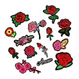 #7: MagiDeal 14 Pieces Red Rose Flower Patch Embroidered Iron On Applique Patches for Clothes Bag Hat Dress DIY