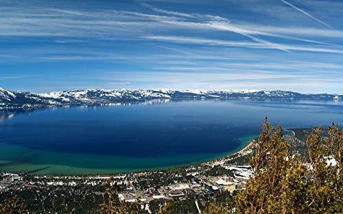 HHYSPA Digitale Malerei Lake Tahoe Naturlandschaft DIY Digital Leinwand Ölgemälde Geschenk für Erwachsene Kinder 40x50cm