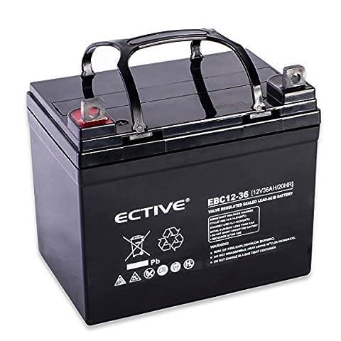 ECTIVE EBC-Serie | Zyklenfester 12V Bleiakku | 10 Varianten: 9Ah - 50Ah |Wartungsfreier Blei-AGM-Akku, Blei-Vlies-Akku, AGM-Akku, Bleigelakku, Blei-Akku, Blei-Batterie für höchste Anforderungen (36 Ah)