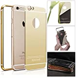 DMG Ultra Luxury Air Aluminum Metal Bumper Detachable + Mirror Hard Back Case for Apple iPhone 6 Plus 6S Plus (Gold)