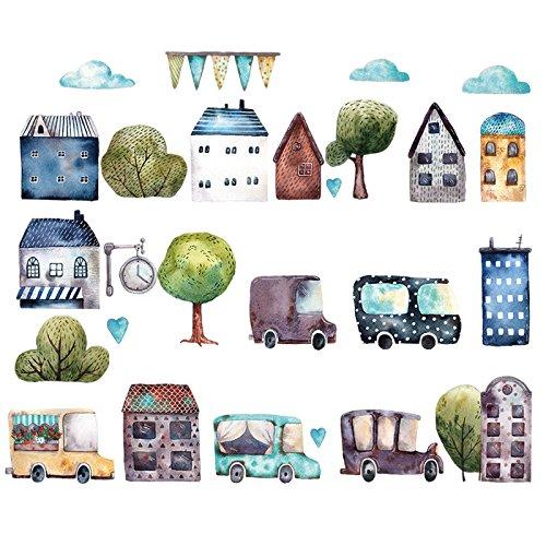 HCCY Wandhalterung Antique Car Stadt Aufkleber Kindergarten Klasse cartoon Wall Sticker Kinder der Wall Sticker selbstklebend Art Deco 78 * 56 cm Cars Film-wand-aufkleber