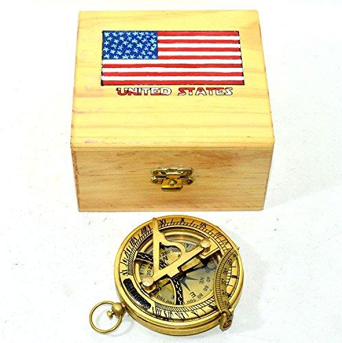 Hello.Nauticals.Store Kompass mit Sonnenuhr, massives Messing, Druckknopf, Gelb, mit Box