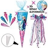 Unbekannt mit _ 3-D Effekt - Glitzer ! _ Set _ Schultüte + 5 kleine Zuckertüten -  Disney die Eiskönigin - Frozen  - 85 cm - eckig - incl. große Schleife - Organza Ab..