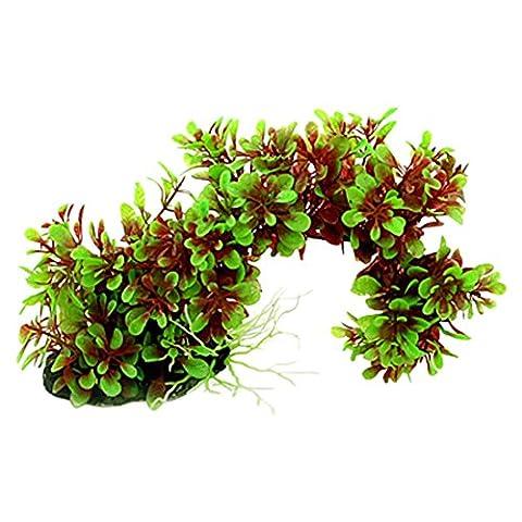 gewoelbt Wasser Gras - TOOGOO(R) Kuenstliche Gruen Rot Bogenstil Pflanze Ornament fuer Aquarium (Pflanzen Aquarium Ornament Dekoration)
