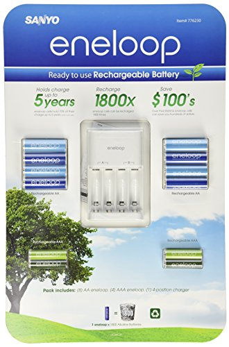 Sanyo Eneloop Ni-MH Charger and 8 Rechargeable AA and 4 Rechargeable AAA Batteries  available at amazon for Rs.6699
