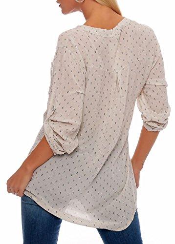 Malito Damen Bluse mit Anker Print | Tunika mit ¾ Armen | Blusenshirt Auch Langarm Tragbar | Elegant �?Shirt 9013 Beige