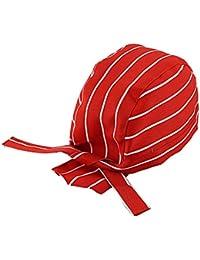 Cikuso Calotta Ristorazione Professionale Cuochi Cappello Bandana (rosso e  bianco a righe) d85e72e096e9