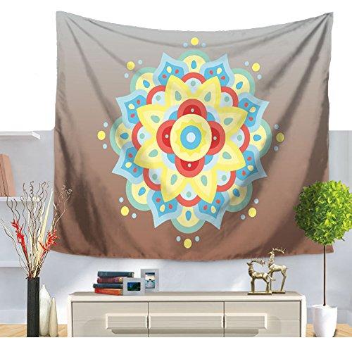 Tapisserie Mandala Imprimé Fleuri Géométrique indien ethnique Mandala Tapisserie Tenture Art Boho Couvre-lit Drap de Plage Hippie Nappe, Mehrfarbig, 59*51in