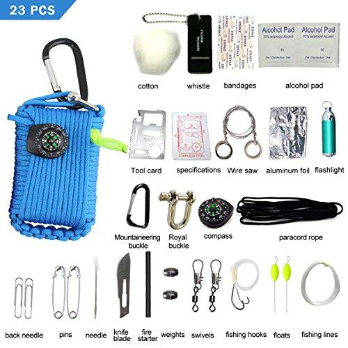 LOTRIP Paracord Survival Kit mit 23 Zubehör Multifunktionaler Paracord Seil Multi-Funktions Outdoor Survival Kit, Überlebensset für Camping, Klettern oder andere Outdooraktivitäten (Blau)