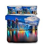Bettbezug 220x240 Doppelbett Moderner Stil 3D Schattenbild Neon Nachtszene Mehrfarbig Bettwäsche King Size 3 Stück Anti-Feuchtigkeit, Anti-Milbe, glatt und bequem