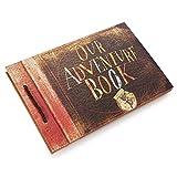 GRT Our/My Adventure Book, Abenteuerbuch Fotoalbum/Scrapbook von Pixar Up handgefertigt,Retro-stil, zum Selbstgestalten Geburtstag Urlaub Hochzeit Gästebuch mit DIY Scrapbook Zubehör, braun
