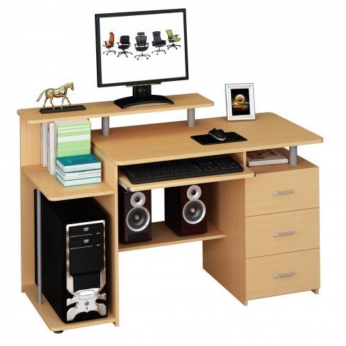hjh OFFICE Computertisch Büro-Schreibtisch STELLA mit Standcontainer, Tastaturauszug, Monitorpodest, viele Ablagefächer, robust gefertigt, einfacher Aufbau, PC-Workstation (buche)