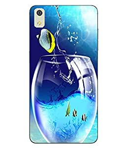 Case Cover Fish Printed Blue Soft Back Cover For LYF WATER 8
