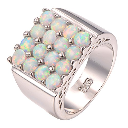 White Fire Opal 925 Sterling Silver Filled Ring Size M To U 1/2 F1262