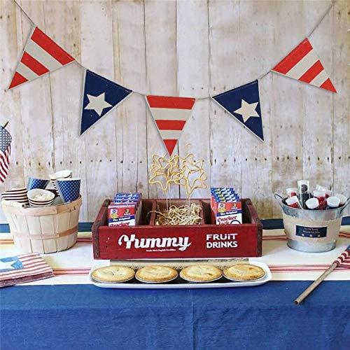 Rvest Tools Patriotische Wimpel Banner Sackleinen Flagge Bunting Banner für 4. Juli Unabhängigkeit 1 Set Tag Dekoration (Bunting 4. Juli)
