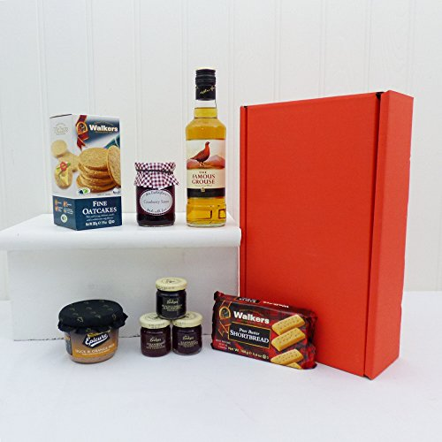 The Famous Grouse 35cl Whisky & Nibbles Gift Food Hamper presented in a Red Gift Box - Gift ideas for Mum, Dad, Mothers Day, Fathers Day, him, her, Christmas hampers, Birthday, Retirement, Thank You Present