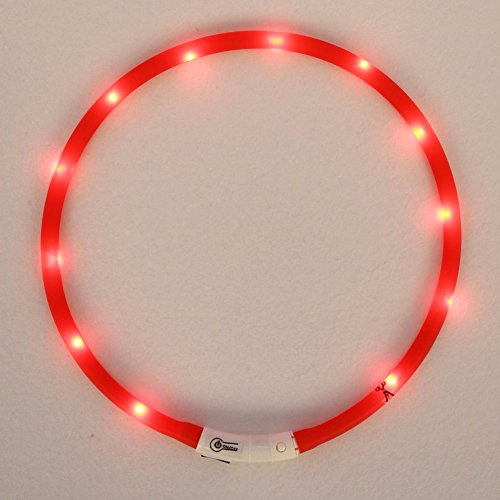 iiniim Haustier LED Halsband LED-Leuchthalsband für Hunde und Katzen Rot Einheitsgröße - 2