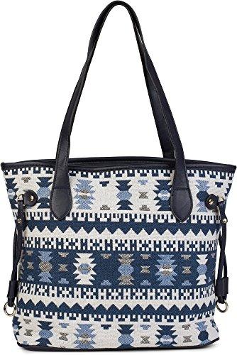 styleBREAKER Schultertasche mit Azteken Muster im Boho Style, Henkeltasche, Handtasche, Tasche, Damen 02012100, Farbe:Schwarz Blau