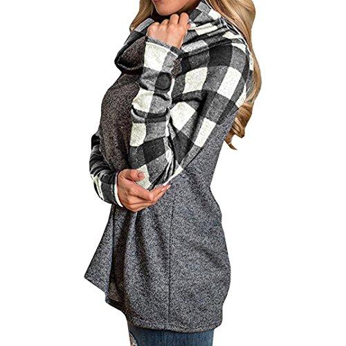 AmazingDays Femme Chandails à Col Roulé T-Shirts Tunique Manches Longues Pull Sweatshirt Black