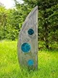 Flagge/Segel aus gebürsteten Metall mit Glaseinsatz 60cm Gartendekoration blaues Glas finish gebürstet