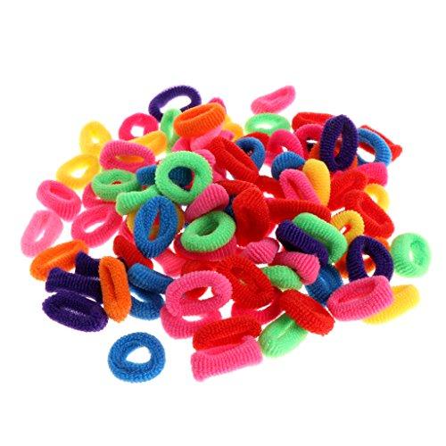 Brucelin - set di 100 elastici per capelli, mini elastici in gomma, minuscole colorate, porta coda di cavallo per bambini, colori misti