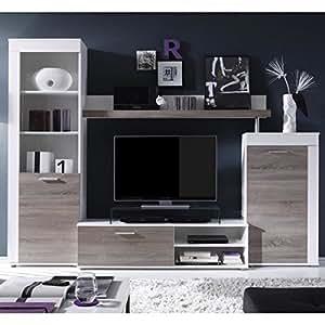 Road meuble tv mural 258cm coloris chene structuré et coloris blanc comprenant 4 éléments